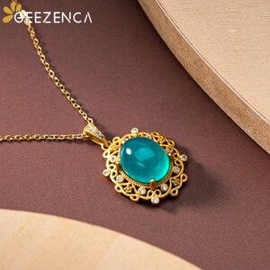 Винтажный позолоченный кулон из амазонита из стерлингового серебра 925 пробы, ювелирные украшения для женщин, натуральный драгоценный камен...