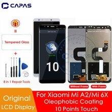 الأصلي ل شاومي Mi A2 شاشة الكريستال السائل محول الأرقام 10 شاشة تعمل باللمس ل شاومي Mi 6X LCD قطع غيار محول رقمي إصلاح إصلاح أجزاء