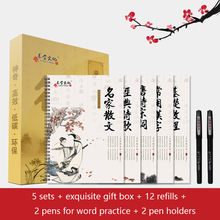 5Books 3D Calligraphy Chinese Characters Reusable Groove Calligraphy Copybook Erasable pen Learn hanzi Adults Art Writing Books china s famous carving books chinese calligraphy painting seal art techniques
