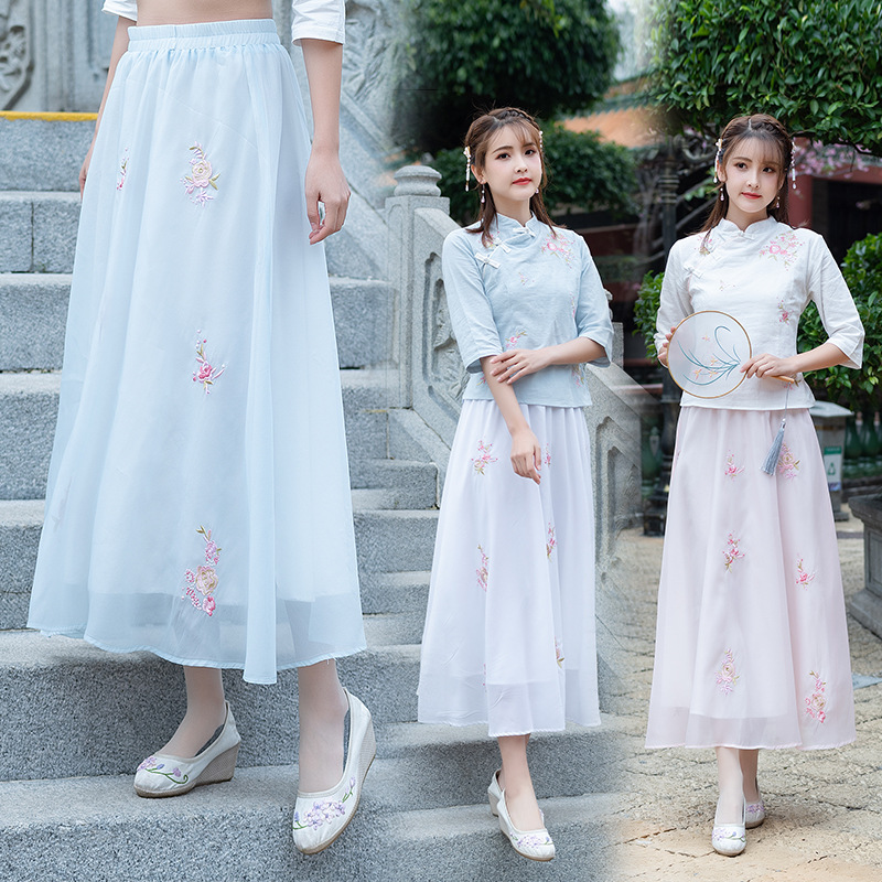 Photo Shoot New Summer Origional Design Improved WOMEN'S Dress Embroidery Jacket Skirt Ultra Large Pendulum Skirt