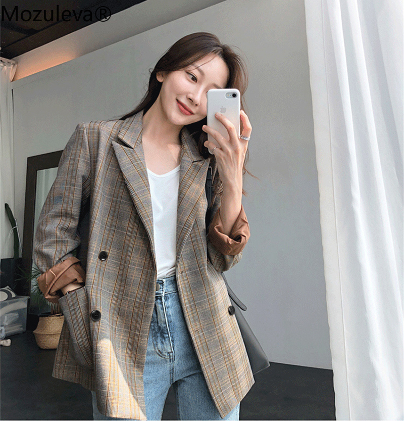 Mozuleva Vintage Plaid Double Breasted Women Blazer Oversized Full Sleeve Grid Female Suit Coat Autumn Women Jackets Outwear2019