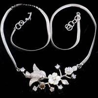 Pretty 17g Songbird White Sapphire White Pearl Silver Necklace 18 18.5 55x27mm