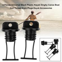4PCS Black Plastic Hull Drain Plug Kit Replacement Parts For Kayaking Canoe Boat Inflatable Kayak Accesstory