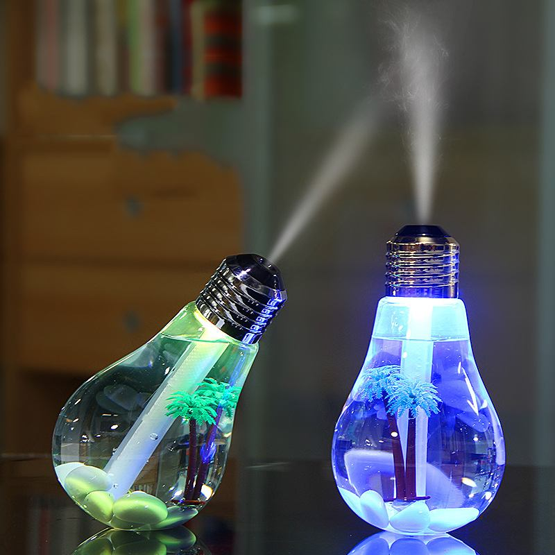 400ml LED Lamp Air Ultrasonic Humidifier Essential Oil Diffuser With LED Night Light Bulb Atomizer Air Freshener Mist Maker