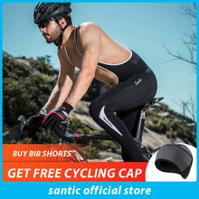 Santic Men Cycling Bib Pants 4D Padding Cushion Winter MTB Bike Long Warm Fleece Asian Size M-3XL K7MC019