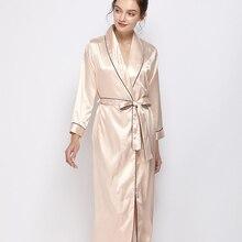 Bayanlar ipek saten uzun elbise uzun kollu Kimono Robe katı gece elbise moda bornoz sabahlık kadınlar için