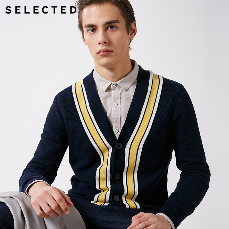 SELECTED   Men's Cotton Winter Stripe Cardigan Sweater | 419124527