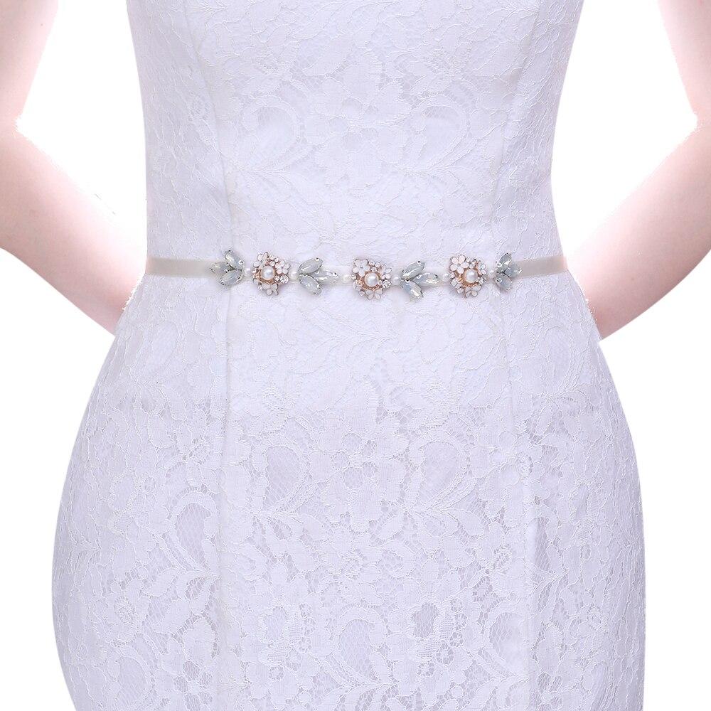 Prime TOPQUEEN S457 Handmade Wedding Bridal Belt Rose Gold Beads Flower Bridal Belt Sash Bridal Belt for Girls New Style Wedding Belt