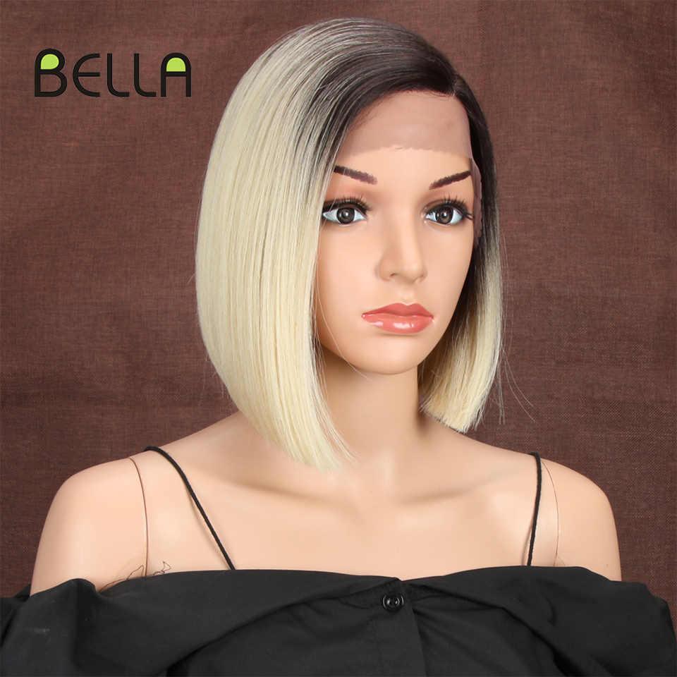 Bella krótkie blond BOB peruka dla kobiet syntetyczne włosy przedziałek z boku koronki 10 cal żaroodporne duży rozmiar Ombre 613 brązowy prosto