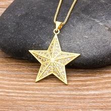 Collier avec pendentif en forme d'étoile pour femmes et filles, bijoux de luxe en cristal, en cuivre et zircon, ras de cou porte-bonheur, cadeaux, offre spéciale