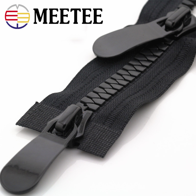 Meetee 8#15# Resin Zippers Open End 70-150cm Long Zip Down Jacket Coat Double Sliders For Sewing Garment Repair Tailor Accessory
