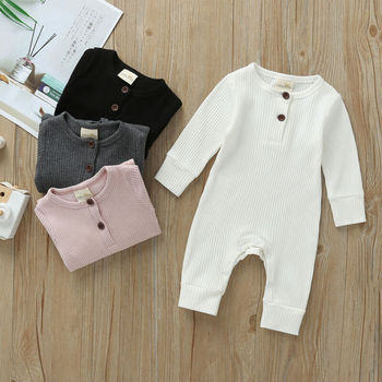 2019 Baby Spring Autumn Clothing Newborn Infant Baby Boy Girl Cotton Romper Knitted Ribbed Jumpsuit Solid Clothes Warm Outfit 1