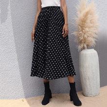 Jupe Midi plissée noire à pois pour femmes, vêtements de bureau élégants de Style coréen, à la mode, élastique, printemps 2021