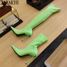 Party-Shoes Knee-Boots High-Heels Women Ladies Luxury The Elastic Over Candy-Color Sexy
