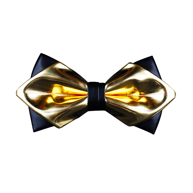 Exclusive Designer Fashionable Gold  Pu Leather Pointed Luxury Bow Tie Bright Nightclub Bowtie Gifts For Men Accessories