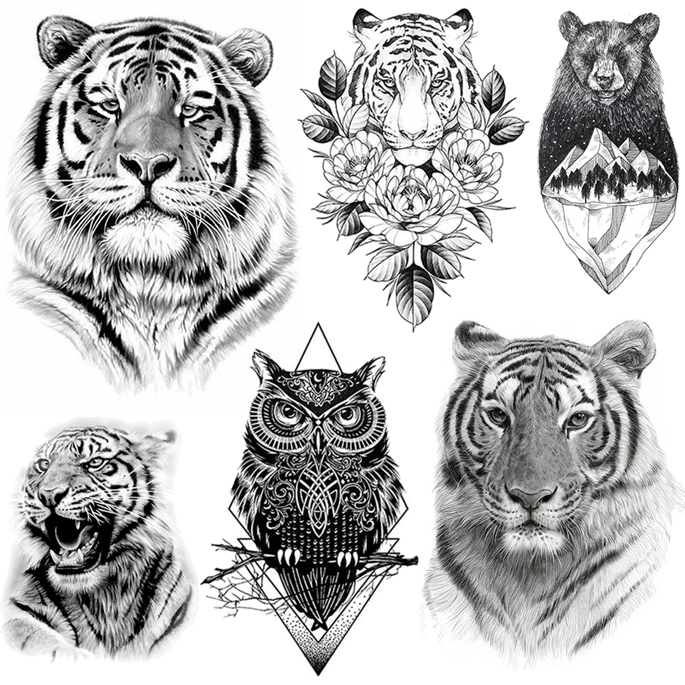 Tigerish Beast Of King Tattoo Temporary Realistic Tiger Tatoo Paste For Men Women Adult Body Art Fake Sketch Bear Tattoo Sticker