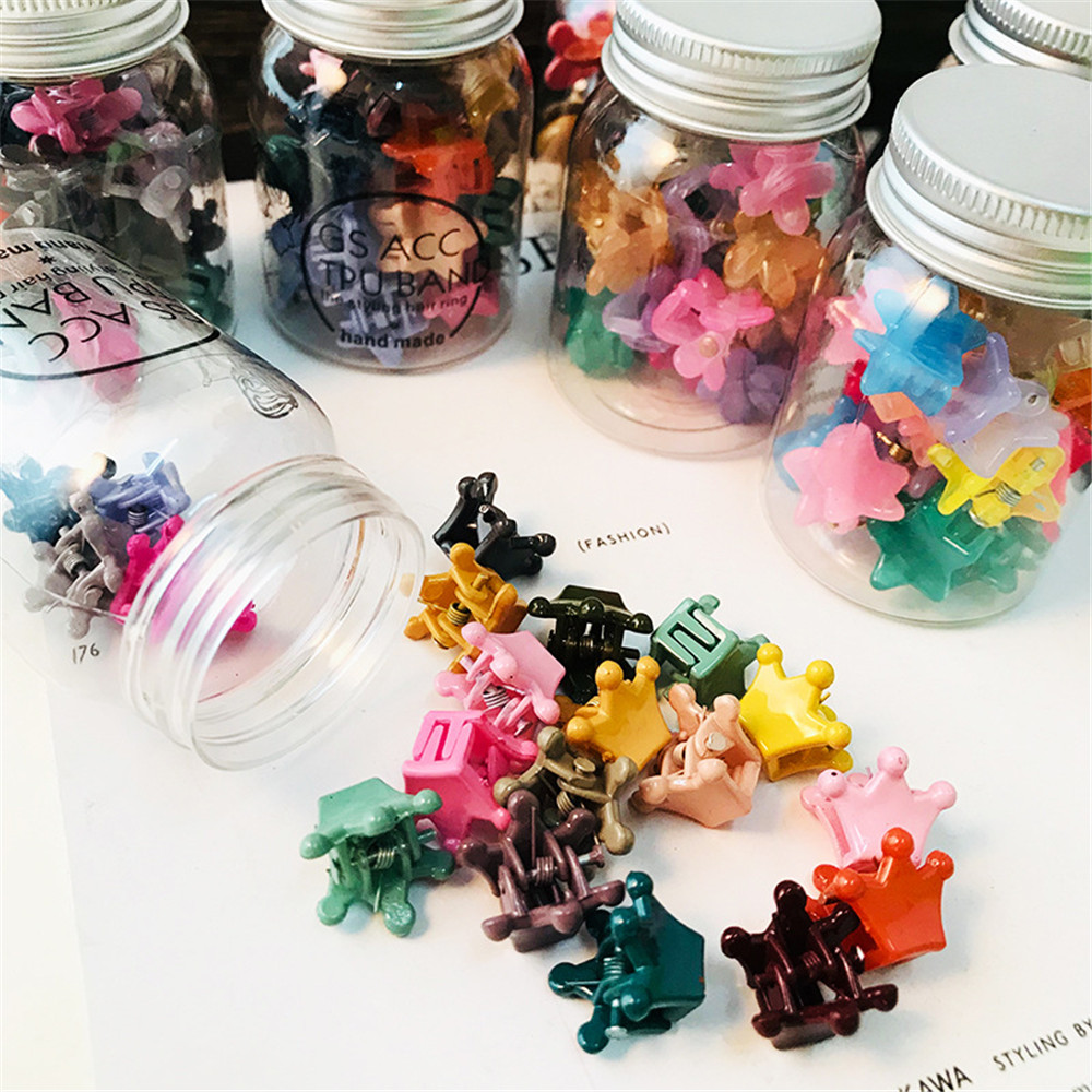 Children Cartoon Hair Accessories Colorful Flower Hair Claw Mini Hairpins Girls Rabbit Crown Hair Clips Headdress