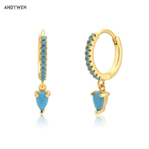 Andywen 100% 925 Sterling Silver Ovals Water Drop Turquoise Drop Earring 2020 Fashion Fine Jewelry Piercing Women Crystal