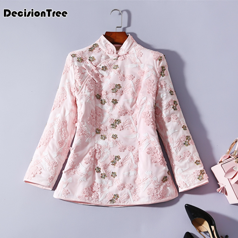 2020 cheongsam top embroidery thick quilted tang suit stand collar long sleeve cotton coat cheongsam top china clothing image