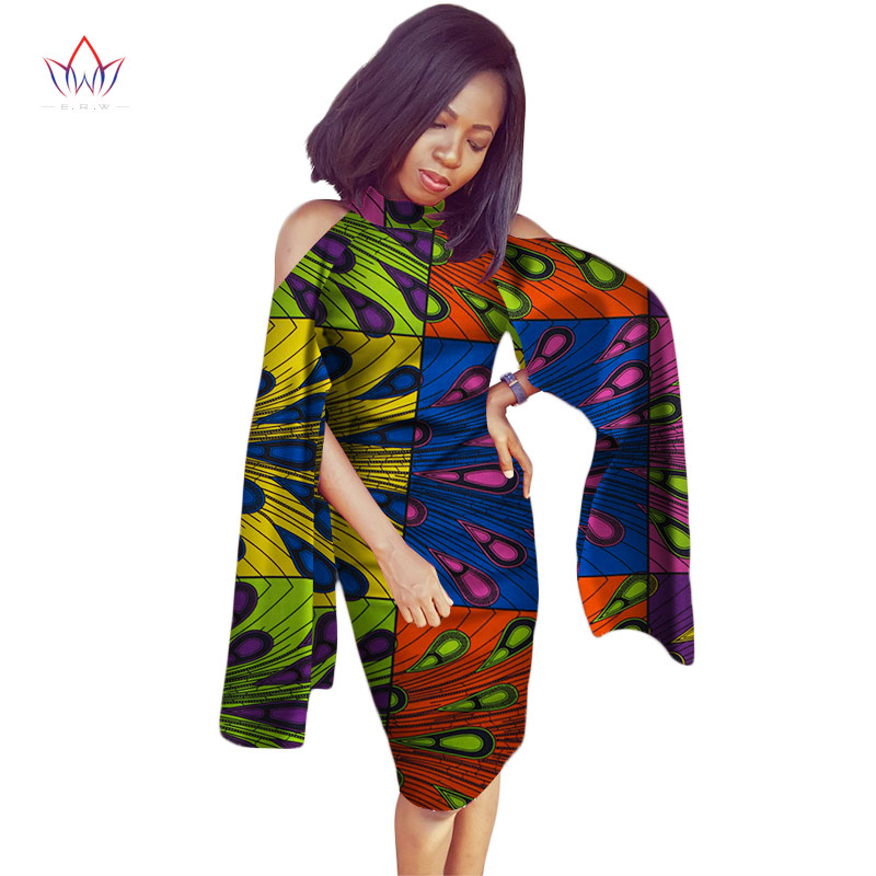 Femmes africaines robe Sexy Slim robe africaine Bazin Riche grande taille hors épaule femmes mode robes vêtements BRW WY2298