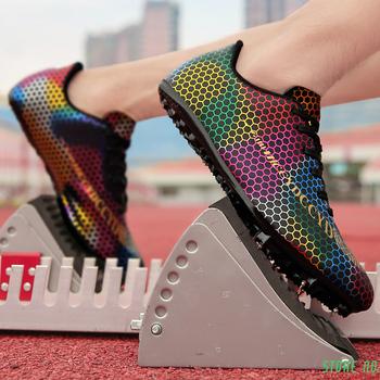 Unisex buty lekkoatletyczne kolce Sprint trampki sportowe mężczyźni antypoślizgowe lekkoatletyka kolce buty do biegania Plus rozmiar 35-46 tanie i dobre opinie LINLING CN (pochodzenie) Cotton Fabric Pcv podłogi Profesjonalne Masaż Średnie (b m) Bezpłatne elastyczne Lace-up Summer2018