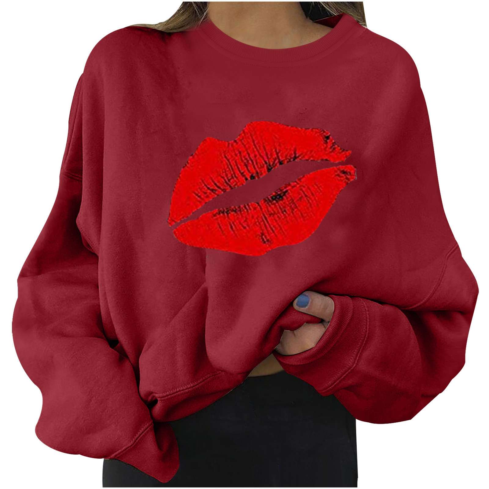 4# Women Plus Size Sweaters Long Sleeve Color Block Lip Print Straples Collar Sweaters Top Autumn Spring Pullover Свитер Женский