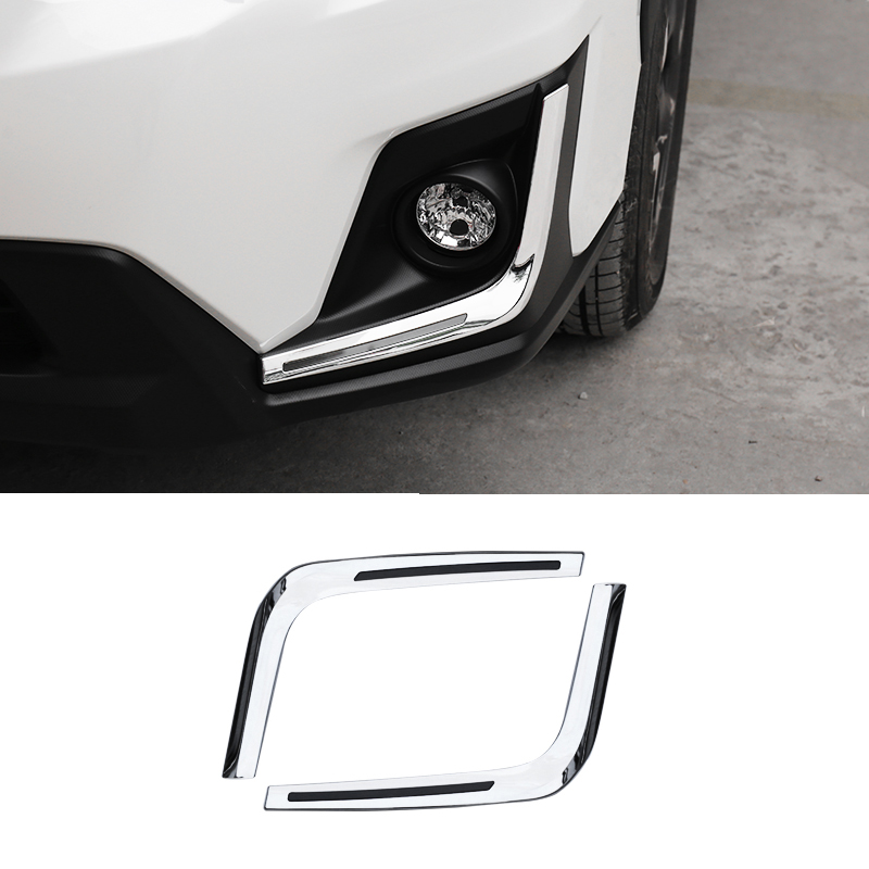 2PCS <font><b>ACCESSORIES</b></font> FIT FOR <font><b>SUBARU</b></font> <font><b>XV</b></font> GT3 GT7 2017 <font><b>2018</b></font> ABS CHROME FRONT FOG LAMP LIGHT COVER TRIM MOLDING LAMP GARNISH image