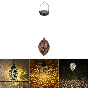 Solar Lamps Lantern Light Outdoor Hanging Garden Light Metal Lamp For Porch Yard Lawn Patio Courtyard Garden Patio Decoration 10led 4m solar powered chinese hanging lantern string light outdoor garden yard decoration light lamp rgb warm white