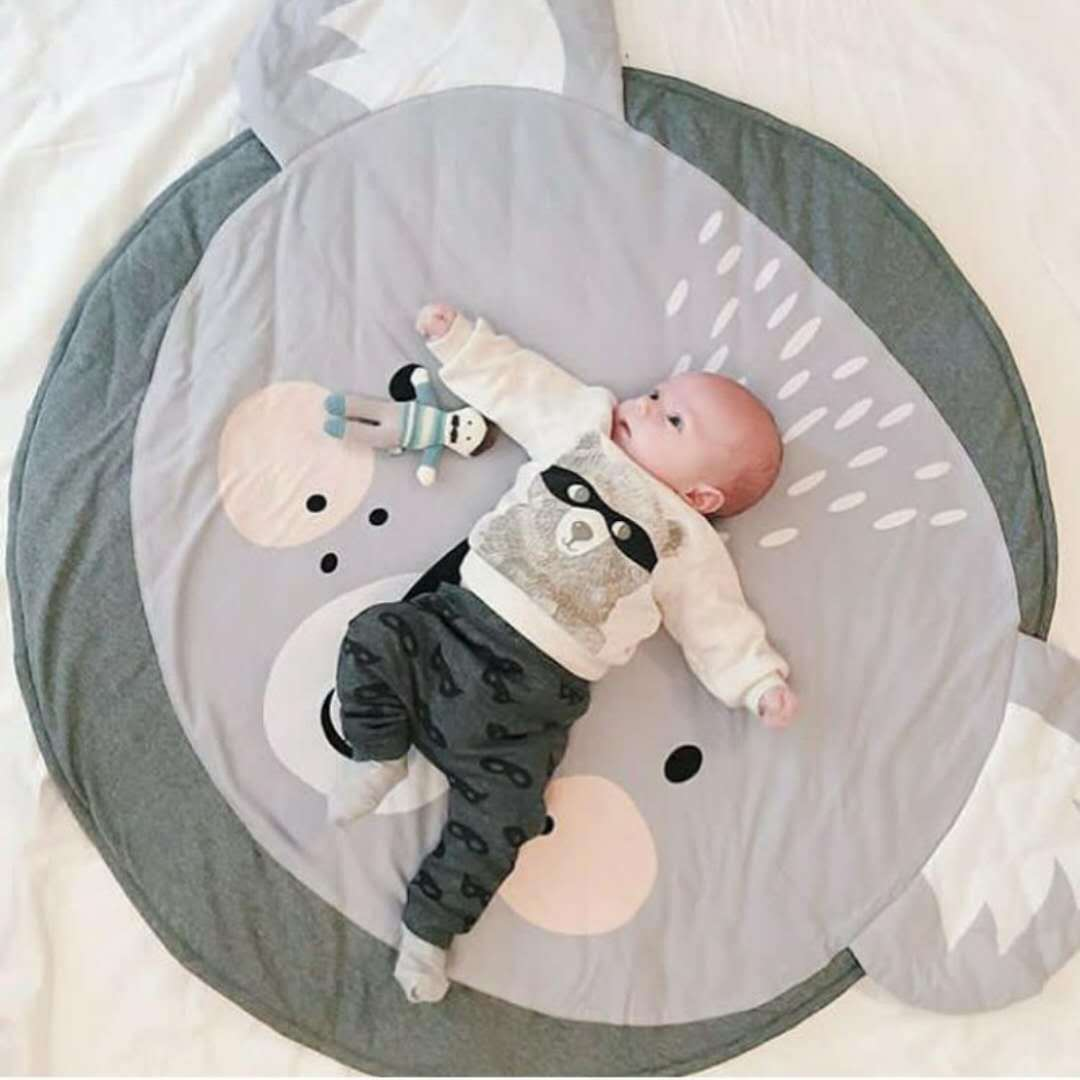 H729c5b51f16742c5a8b601973c466d90i Ins Cartoon Baby Play Mats Pad Toddler Kids Crawling Blanket Round Carpet Rug Toys Mat For Children Room Decor Photo Props