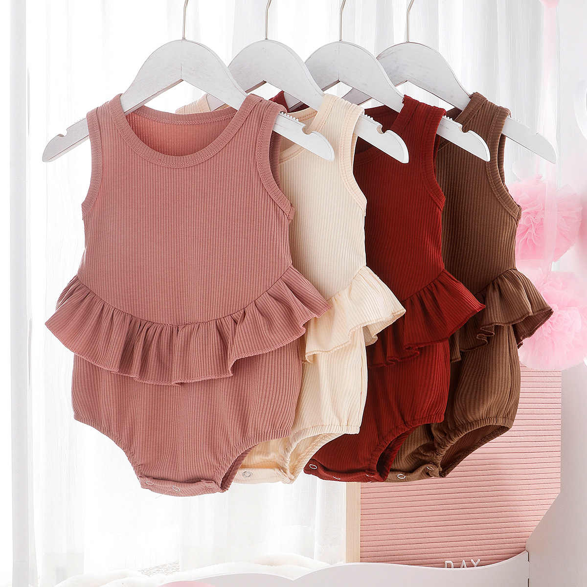 infant baby girls sleeveless ruched solid outfits romper newborn casual jumpsuits toddler sunsuits girl clothing 0-24M