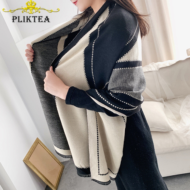 Gray Black Patchwork Winter Faux Cashmere Women's Shawl Fashion Female Tippet Scarf Wrap Warm Pashmina 2019 Wool Ladies Scarf