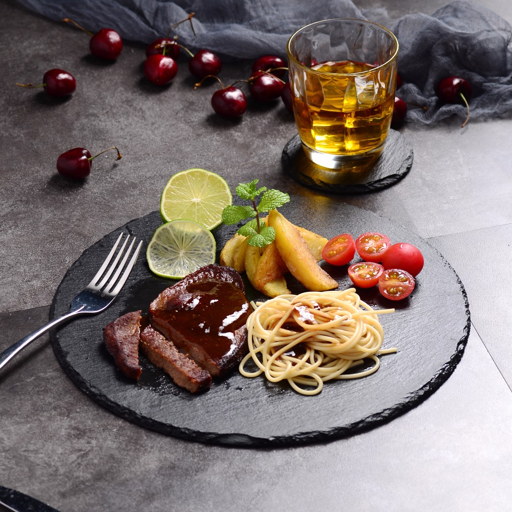 MALACASA vaisselle ronde ardoise naturelle Set de Table café thé tasse assiette tasse-8 sous-verres, 8 napperons