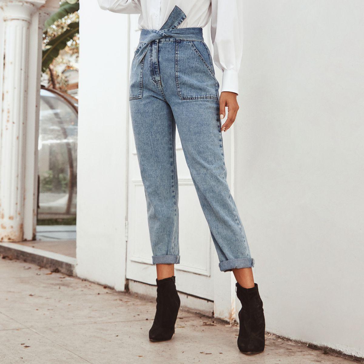 Women Vintage High Waist Jeans Fashion Boyfriends Style Denim Pants