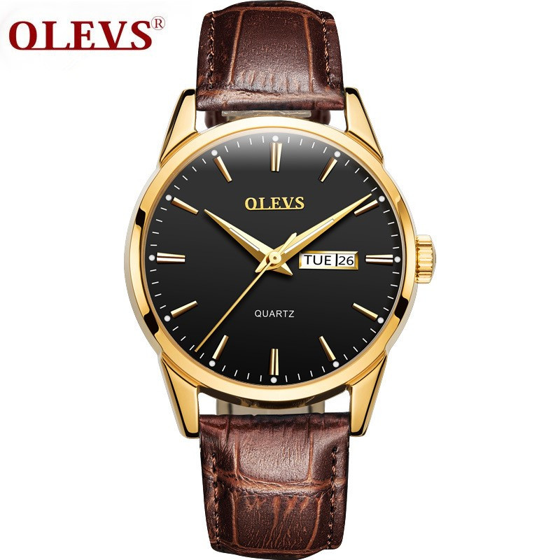 OLEVS Couple Watches Luxury Simple Day Date Wrist Watches Waterproof Clock Men Women Luminous Leather Watchband Quartz Watch