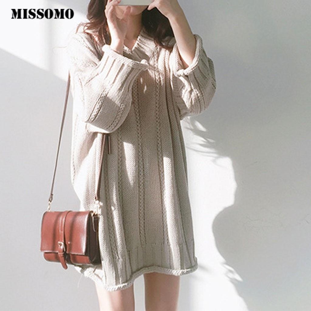 MISSOMO Oversize Sweater Dress Women Dresses Casual V-Neck Knitting Long Sleeve Shirt Sexy  Mini Dress Winter Dress Vestidos 930