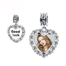 Strollgirl New 925 Sterling Silver custom Photo beads Heart Pendant Charms Fit Pandora bracelet for women fashion Jewelry Gifts(China)
