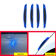 4Pcs Carbon Fiber Car Front Rear Door Edge Guard Strip Anti-collision Scratch Protection Reflective Warning Stickers Universal