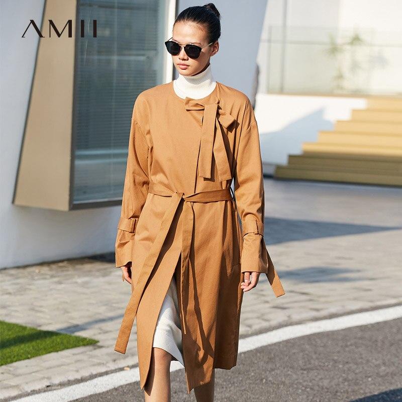 Amii Minimalist Round Neck Trench Coat Autumn Women Solid Loose With Belt Female Long Jackets 11775208