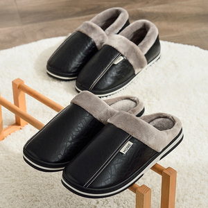 Image 3 - ASIFN Men Slippers Indoor Leather Winter Waterproof Warm Home Fur Women Slipper Male Couple Platform Shoes Fluffy Big Sizes