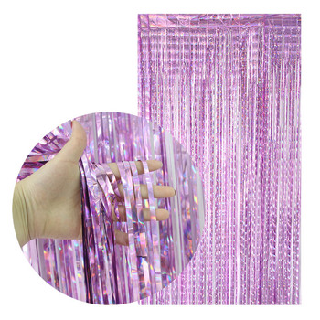 200cm Rose Gold Backdrop Curtain Metallic Foil Tinsel Fringe Curtain for Wedding Birthday Party Decoration Photo Props Supplies