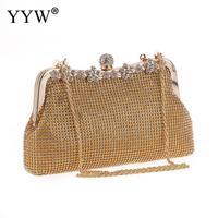 YYW Dropship Gold Silver Rhinestone Wedding Handbag Evening Party Bridal Purse Handbags Silver Pochette Femme Crystal Crossbody