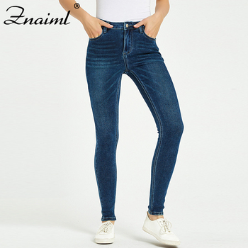 Znaiml Jeans For Women High Elastic Plus size Stretch Jeans Female Washed Denim Skinny Pencil Pants Casual Streetwear Trousers цена 2017
