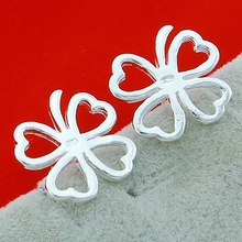 New Arrival Fashion Hollow Clover Women Earring 925 Sterling Silver Love Heart Lucky earrings Elegant Girl gift