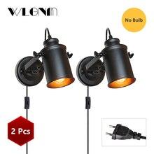 Lámpara de pared Vintage lámpara de pared Industrial, enchufe con interruptor de botón, Luz Retro de pared, iluminación de pasillo de sala de estar