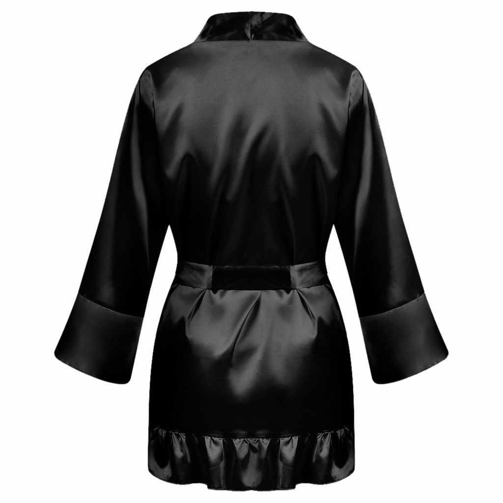 2019 Nuovo di Seta Del Kimono Robe Accappatoio Degli Indumenti da Letto Delle Donne Vestaglie Sexy Signore Vestono Abiti da Damigella D'onore di Seta Degli Indumenti da Notte Dei Pigiami ##7