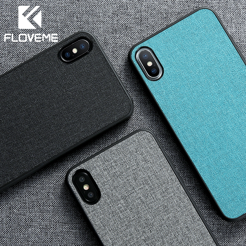 FLOVEME Retro Cloth Case For iPhone XR XS MAX X Classic Business Soft Phone 7 8 Plus 6 6S Cover Cases Capa