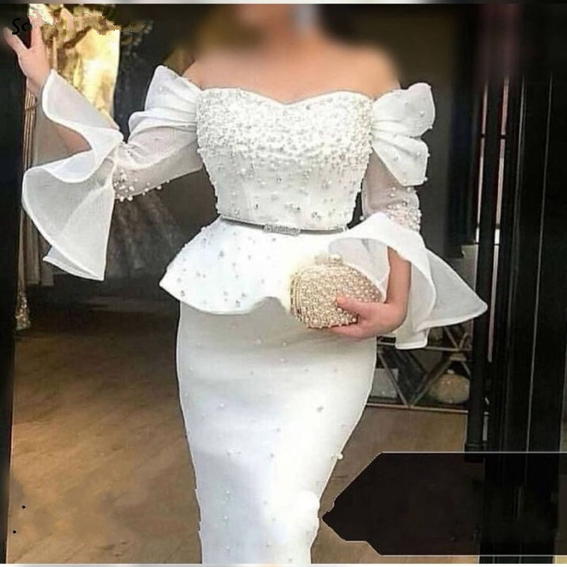 White Muslim Evening Dresses Mermaid Off The Shoulder Pearls Dubai Saudi Arabic Long Evening Gown