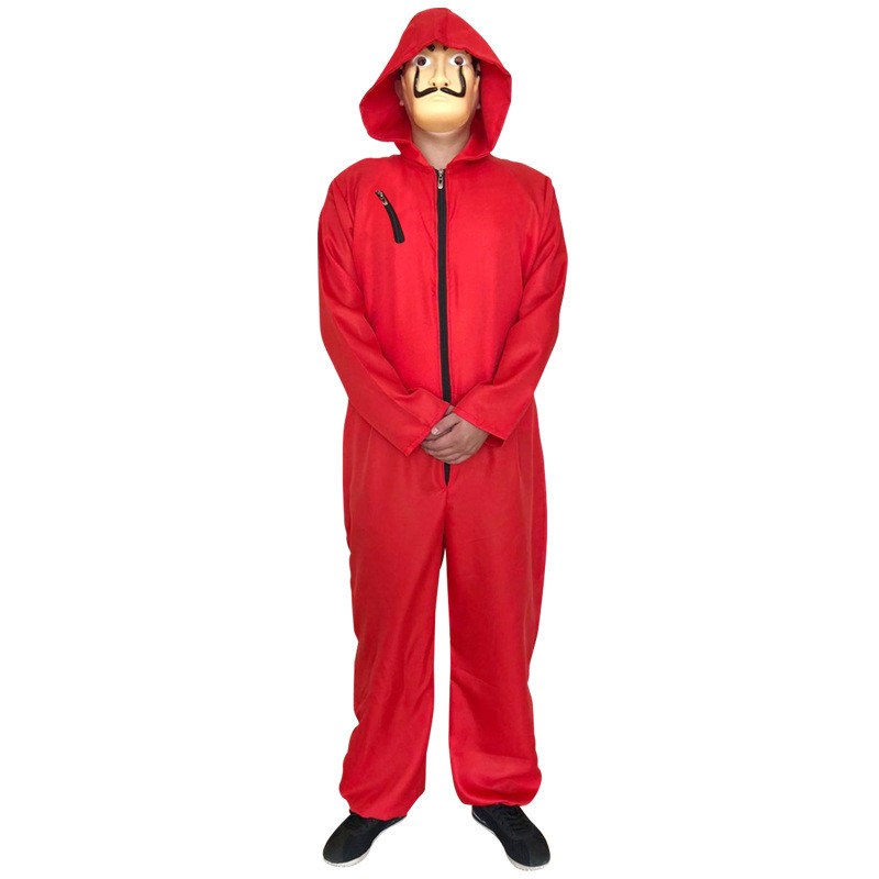 Hirigin New Fashion Womens Mens Unisex Money Red Jumpsuits Playsuits Rompers Mask Hooded Halloween Cosplay Costume Card House