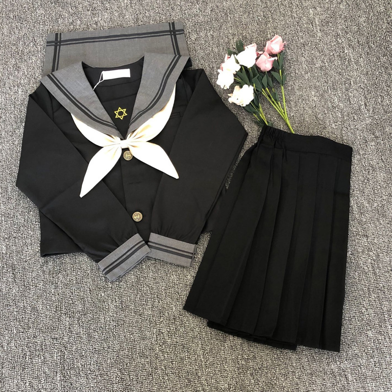 School Dresses Large-Size S-5XL Anime Form College Middle High School Girls Black Jk Uniform With Tie Pleated Skirt Sailor Suit