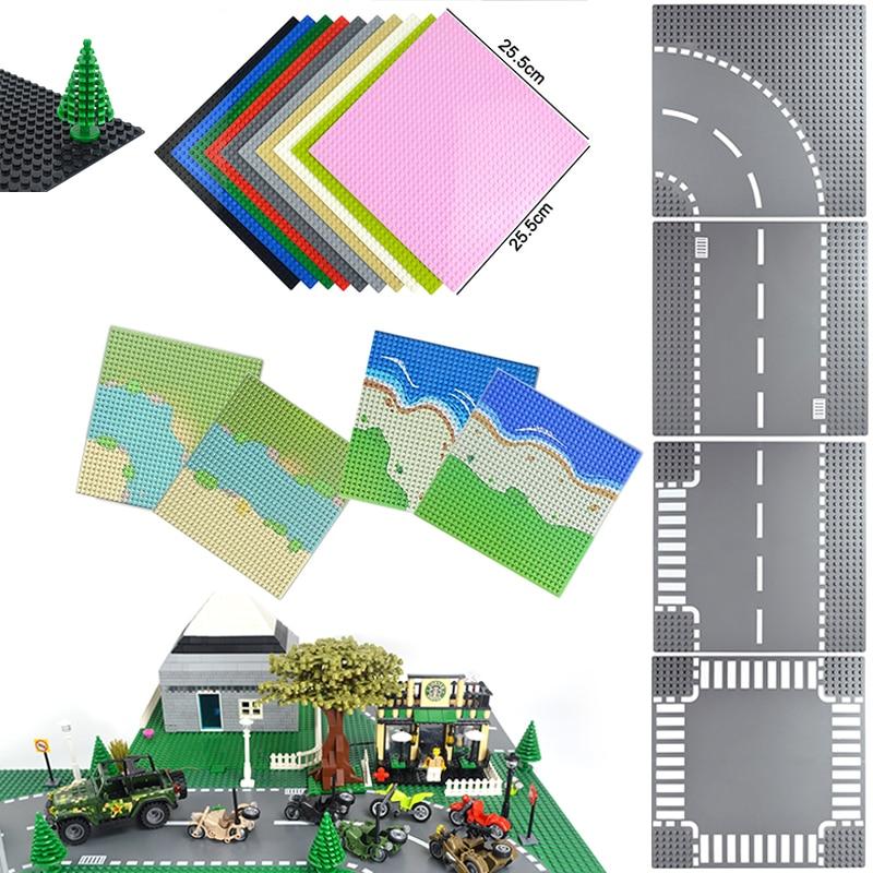 Классический базовый тарелки набор «городская улица» дорожная плита опорные плиты строительные блоки игрушки 32*32 точек кирпичи совместим ...